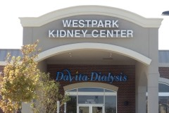 Westpark Kidney Center wall sign closeup view