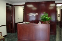 Andreason Law Firm reception wall sign