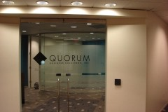 Quorum door window lettering