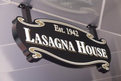 Lasagna House under canopy sign closeup