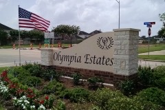 Olympia Estates monument sign angled view