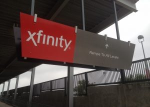 xfinity ramp sign at reliant stadium